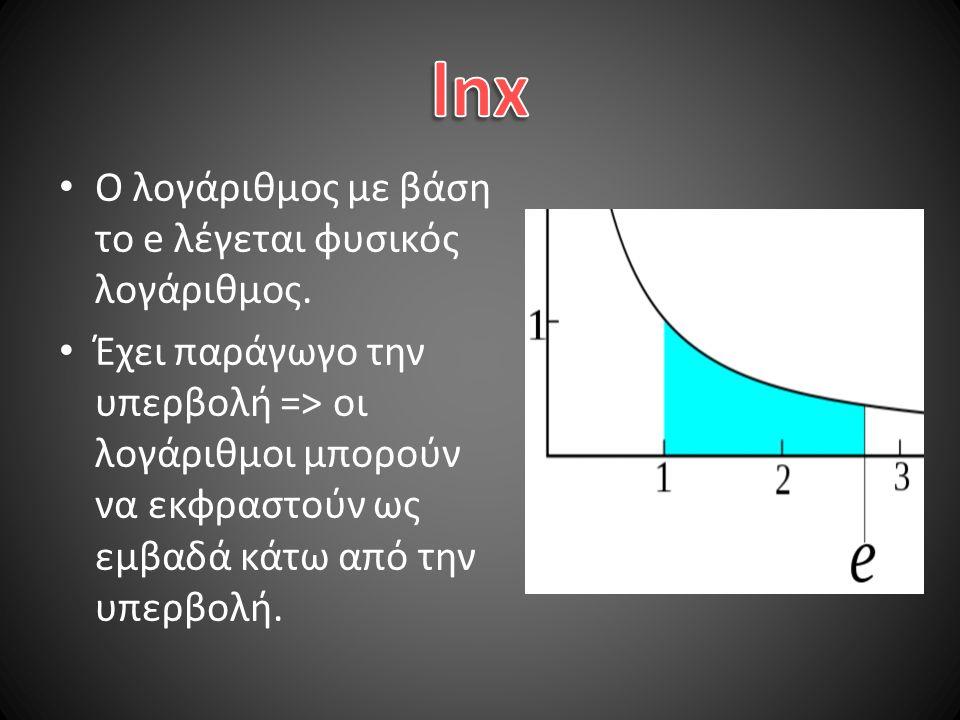 lnx Ο λογάριθμος με βάση το e λέγεται φυσικός λογάριθμος.