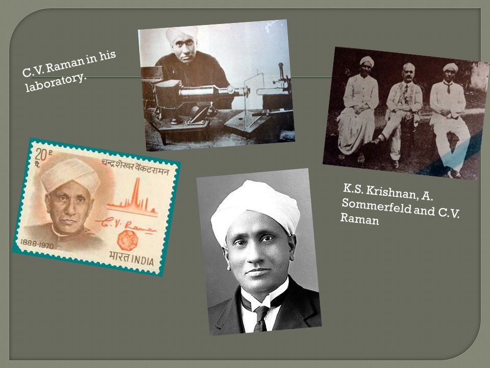 C.V. Raman in his laboratory.