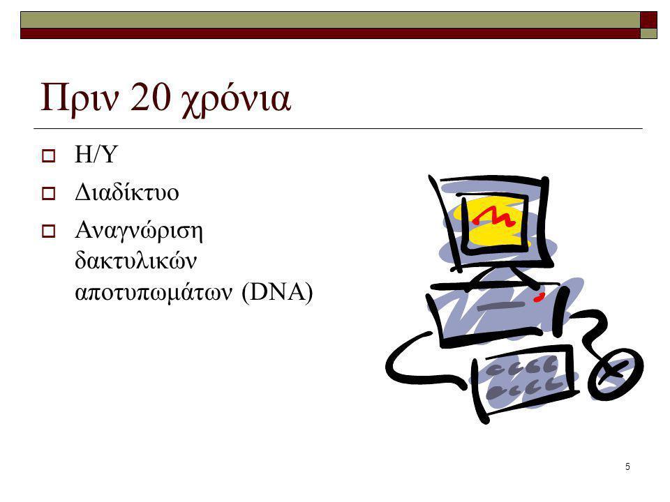 Πριν 20 χρόνια Η/Υ Διαδίκτυο Αναγνώριση δακτυλικών αποτυπωμάτων (DNA)