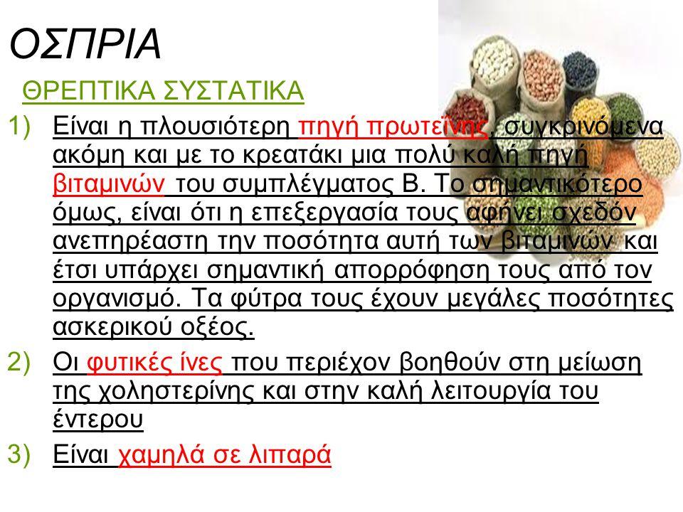 ΟΣΠΡΙΑ ΘΡΕΠΤΙΚΑ ΣΥΣΤΑΤΙΚΑ