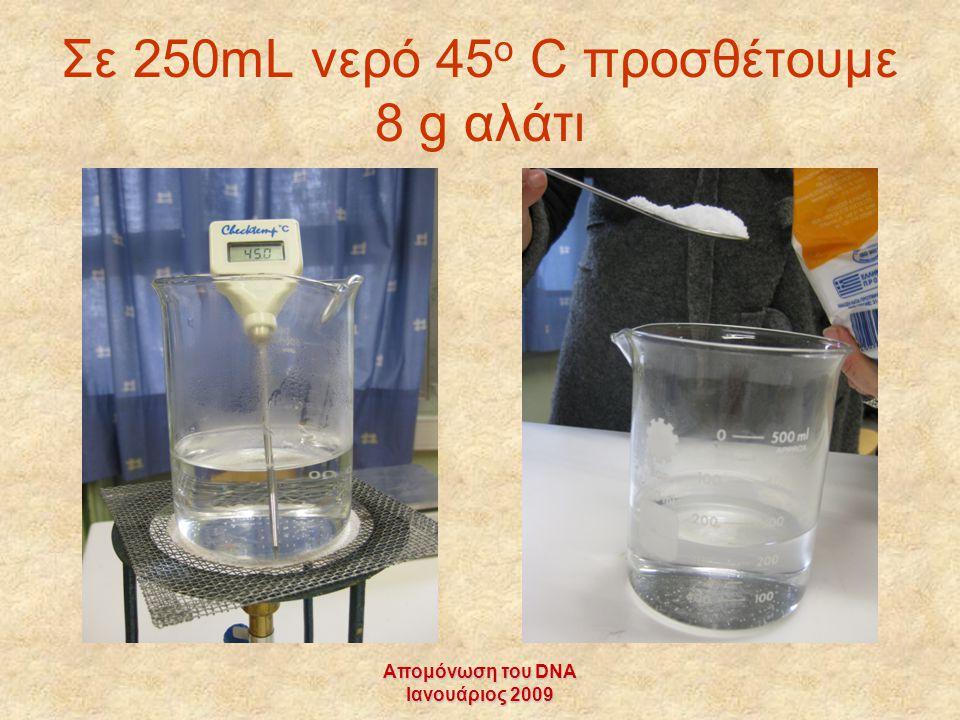 Σε 250mL νερό 45ο C προσθέτουμε 8 g αλάτι