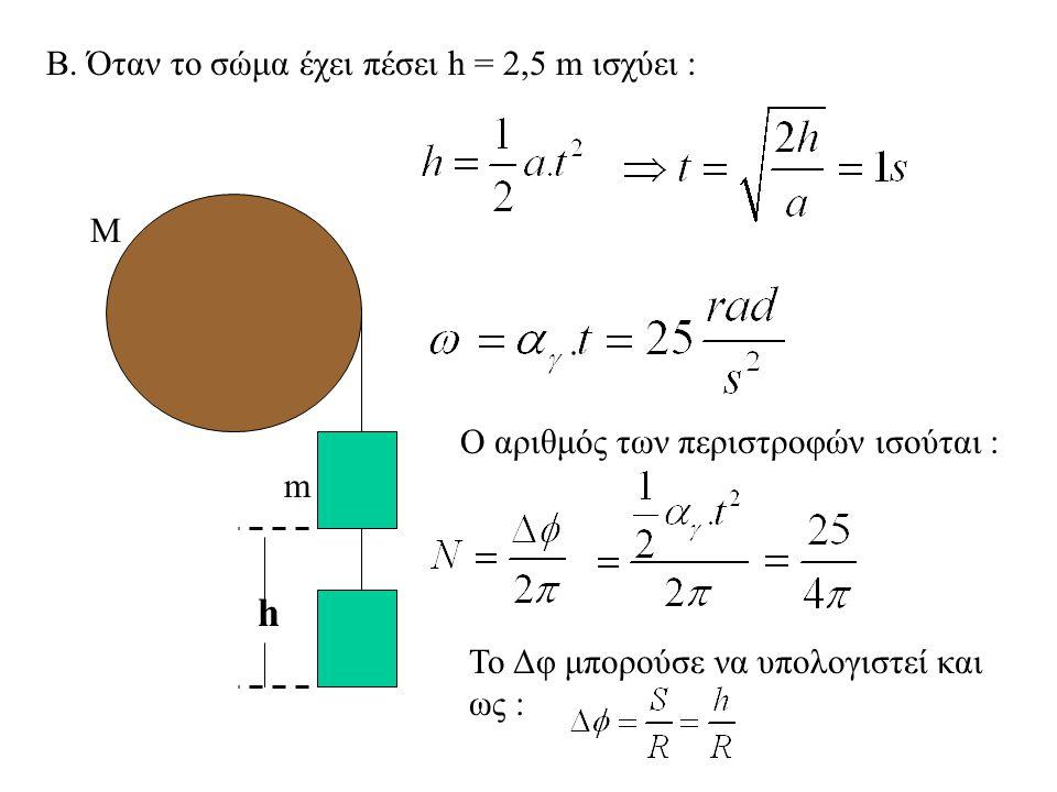 h Β. Όταν το σώμα έχει πέσει h = 2,5 m ισχύει : M