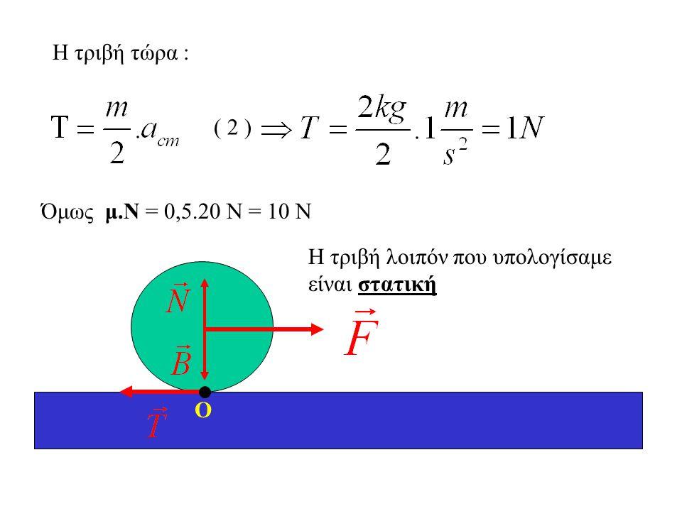 Η τριβή τώρα : ( 2 ) Όμως μ.Ν = 0,5.20 Ν = 10 Ν Η τριβή λοιπόν που υπολογίσαμε είναι στατική Ο