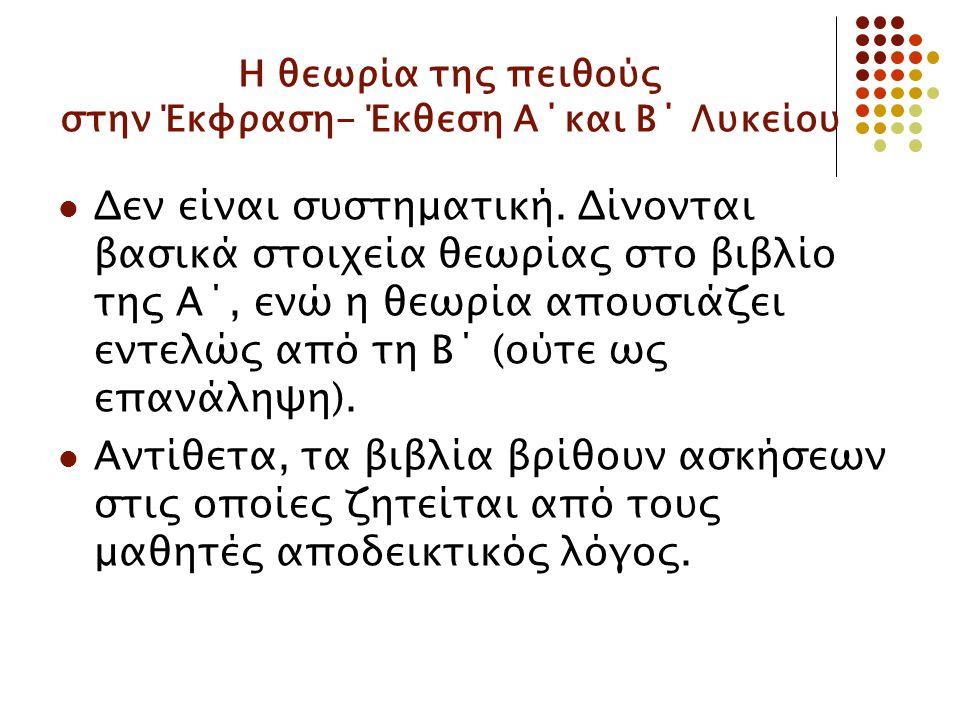 Η θεωρία της πειθούς στην Έκφραση- Έκθεση Α΄και Β΄ Λυκείου