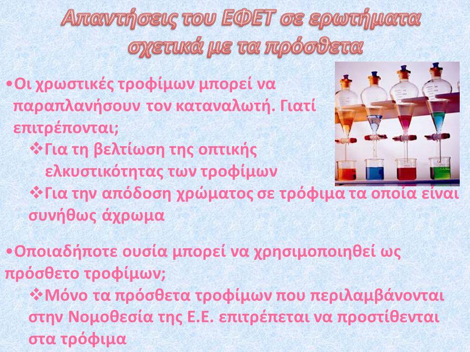 Απαντήσεις του ΕΦΕΤ σε ερωτήματα σχετικά με τα πρόσθετα