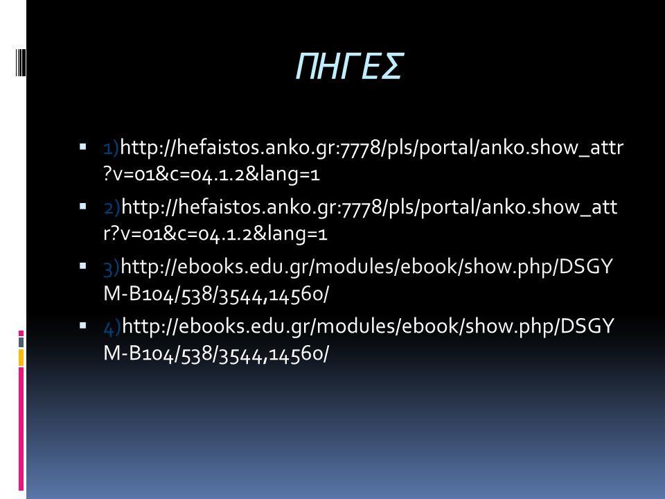 ΠΗΓΕΣ 1)http://hefaistos.anko.gr:7778/pls/portal/anko.show_attr v=01&c=04.1.2&lang=1.