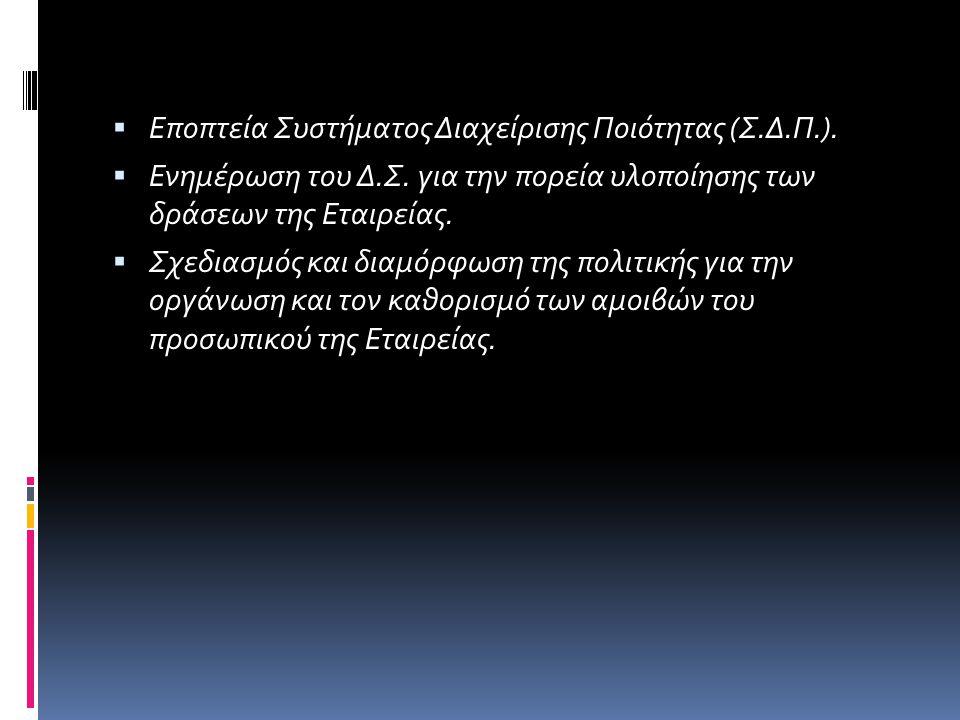 Εποπτεία Συστήματος Διαχείρισης Ποιότητας (Σ.Δ.Π.).