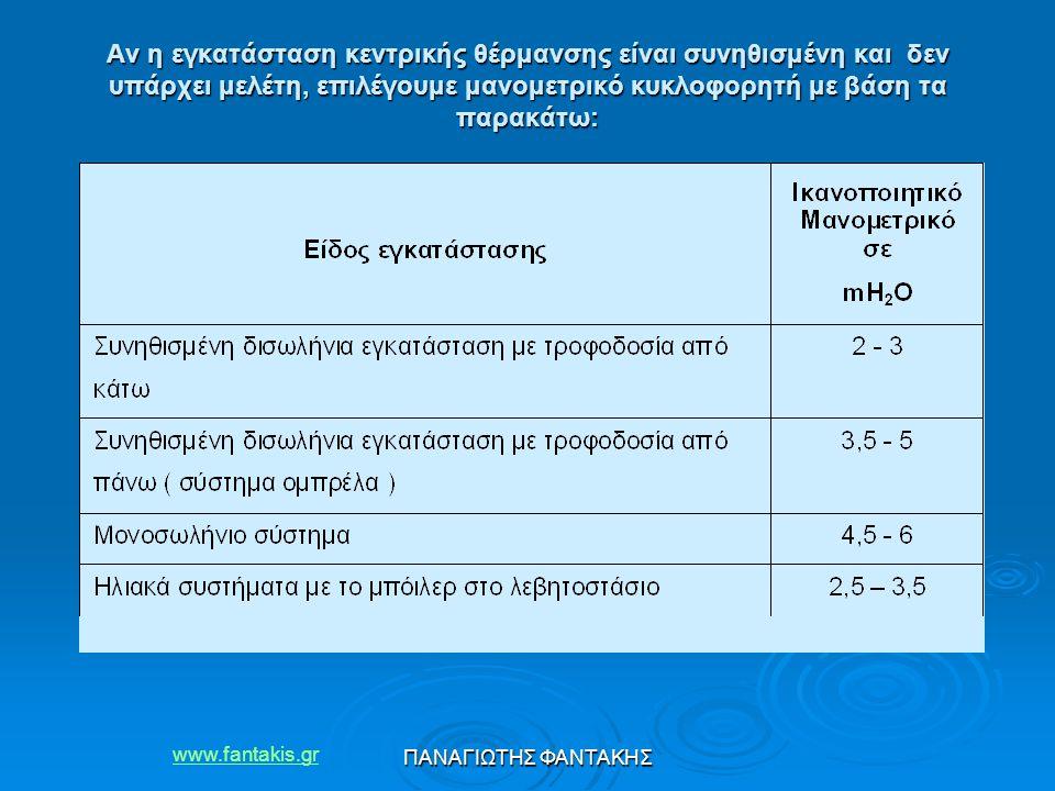 Αν η εγκατάσταση κεντρικής θέρμανσης είναι συνηθισμένη και δεν υπάρχει μελέτη, επιλέγουμε μανομετρικό κυκλοφορητή με βάση τα παρακάτω: