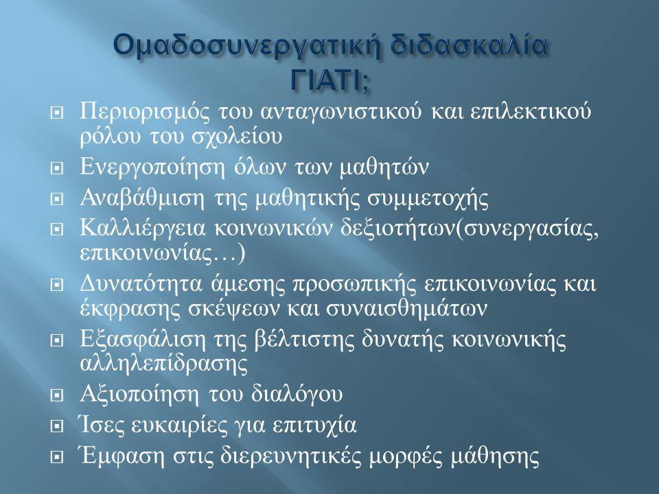 Ομαδοσυνεργατική διδασκαλία ΓΙΑΤΙ;
