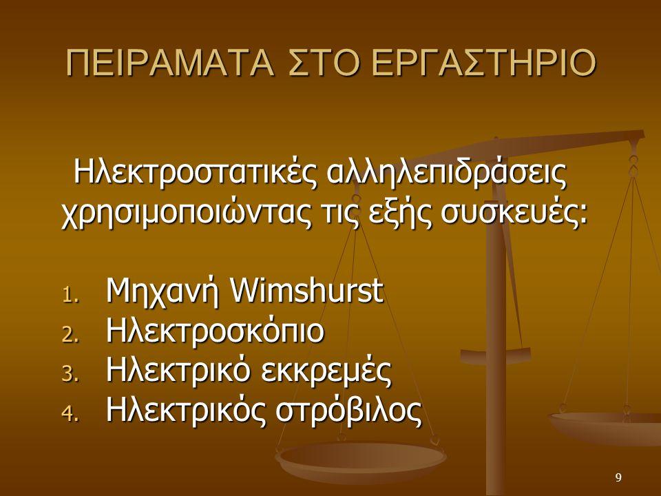 ΠΕΙΡΑΜΑΤΑ ΣΤΟ ΕΡΓΑΣΤΗΡΙΟ