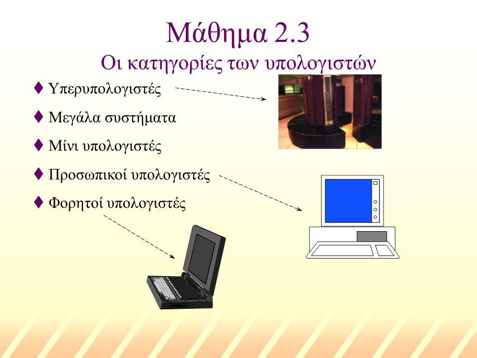 Μάθημα 2.3 Οι κατηγορίες των υπολογιστών