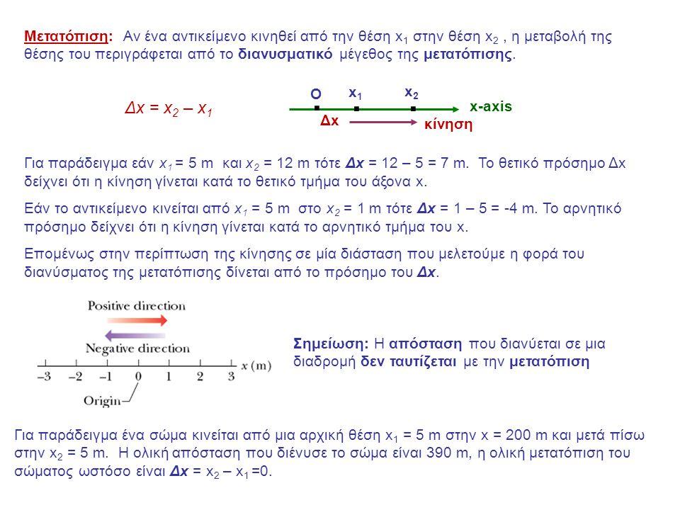 Μετατόπιση: Αν ένα αντικείμενο κινηθεί από την θέση x1 στην θέση x2 , η μεταβολή της θέσης του περιγράφεται από το διανυσματικό μέγεθος της μετατόπισης.