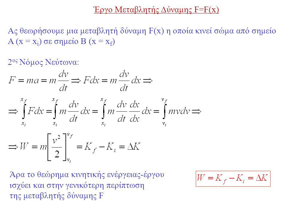 Έργο Μεταβλητής Δύναμης F=F(x)