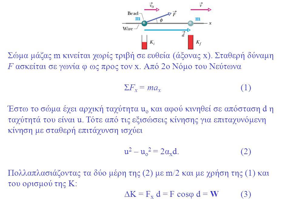 m Σώμα μάζας m κινείται χωρίς τριβή σε ευθεία (άξονας x). Σταθερή δύναμη F ασκείται σε γωνία φ ως προς τον x. Από 2ο Νόμο του Νεύτωνα.