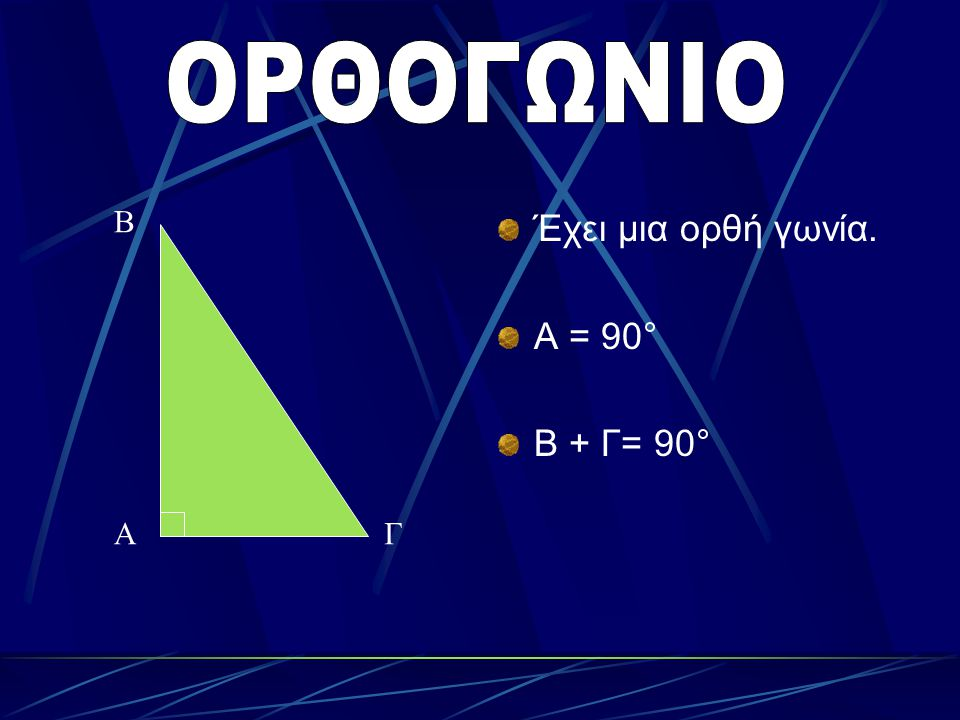 ΟΡΘΟΓΩΝΙΟ Β Έχει μια ορθή γωνία. Α = 90° Β + Γ= 90° Α Γ