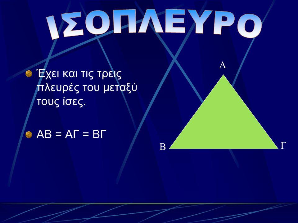 ΙΣΟΠΛΕΥΡΟ Έχει και τις τρεις πλευρές του μεταξύ τους ίσες.