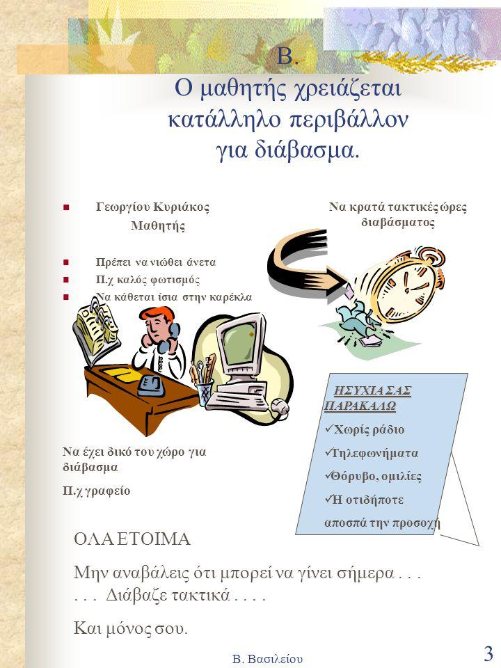 Β. Ο μαθητής χρειάζεται κατάλληλο περιβάλλον για διάβασμα.