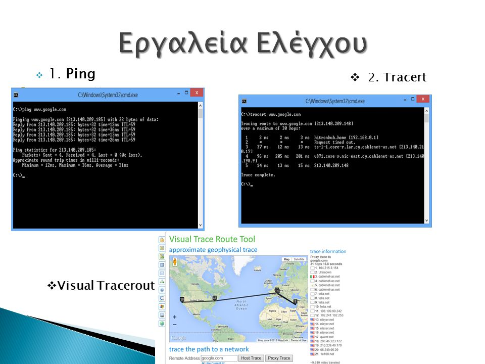 Εργαλεία Ελέγχου 1. Ping 2. Tracert Visual Traceroute