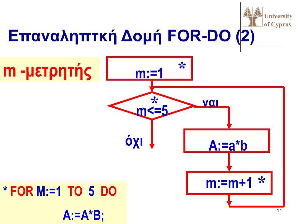 * m -μετρητής * * Επαναληπτκή Δομή FOR-DO (2) m:=1 m<=5 όχι A:=a*b
