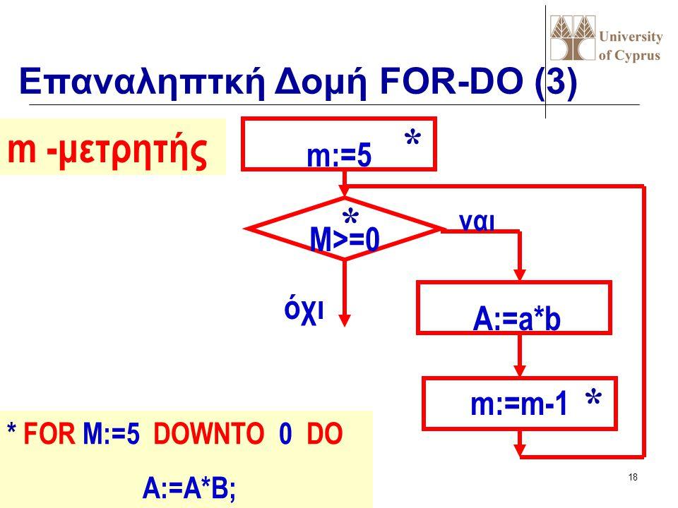 * m -μετρητής * * Επαναληπτκή Δομή FOR-DO (3) m:=5 M>=0 όχι A:=a*b
