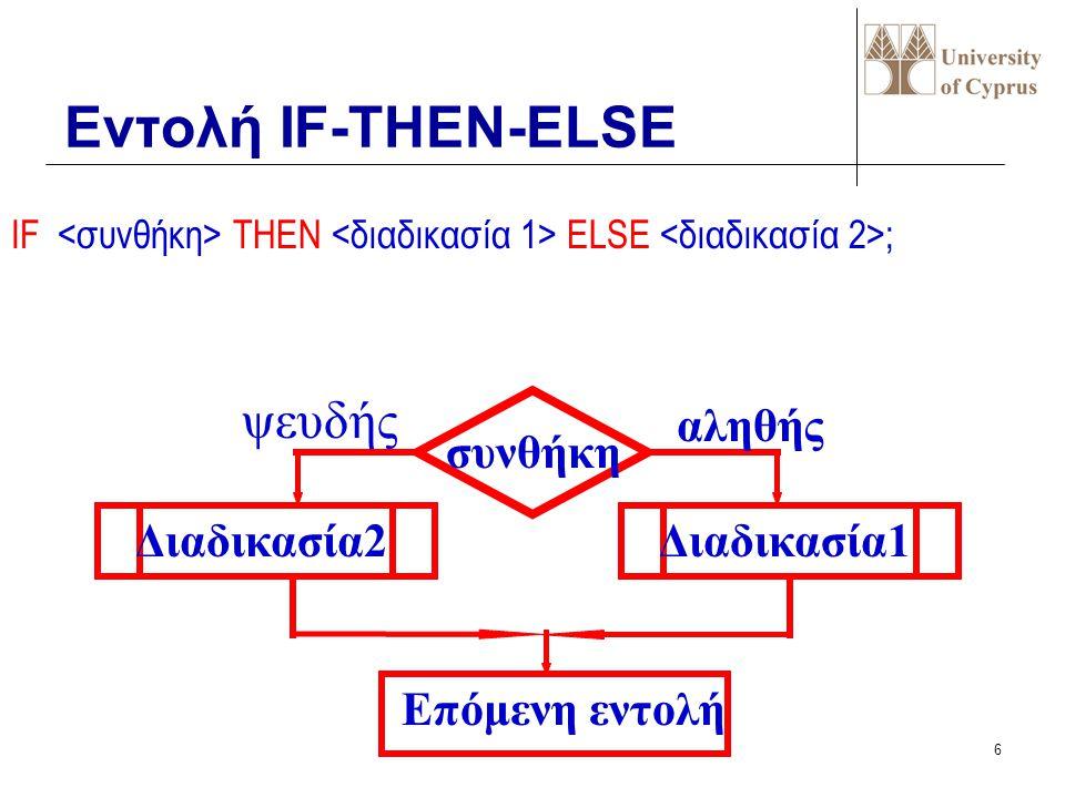 Εντολή IF-THEN-ELSE ψευδής αληθής συνθήκη Διαδικασία2 Διαδικασία1