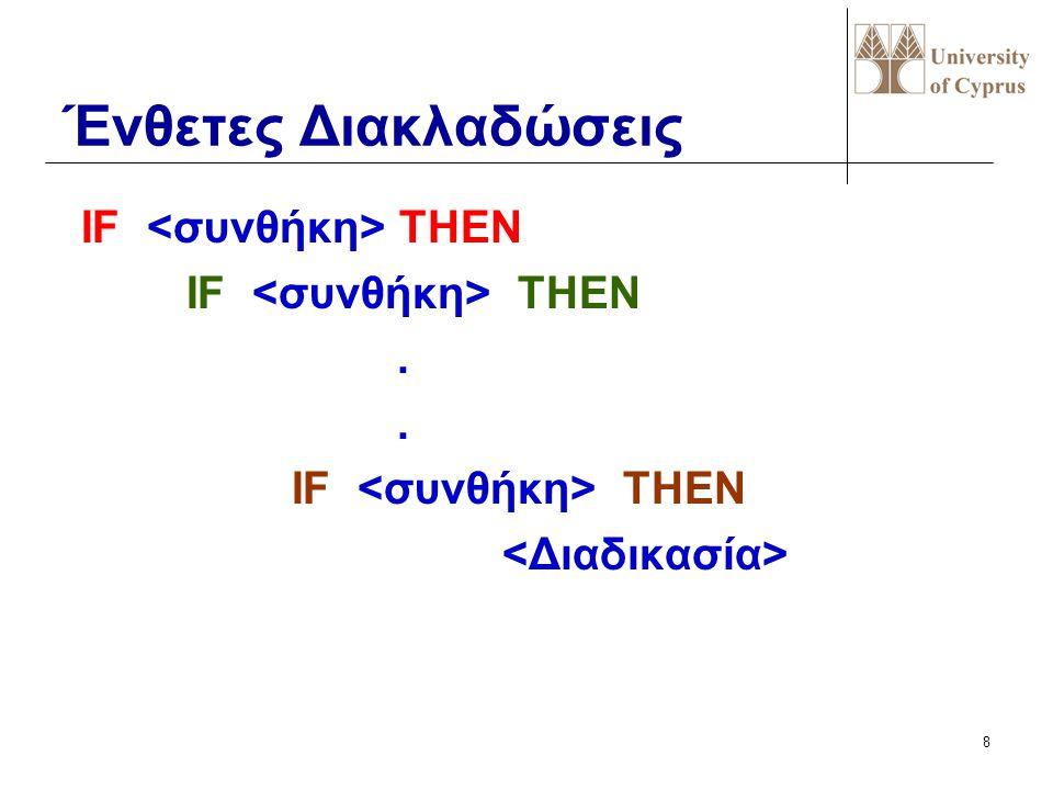 Ένθετες Διακλαδώσεις IF <συνθήκη> THEN IF <συνθήκη> THEN .