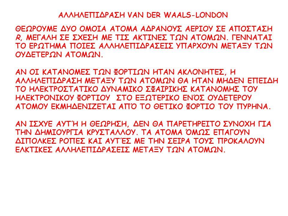 ΑΛΛΗΛΕΠΙΔΡΑΣΗ VAN DER WAALS-LONDON