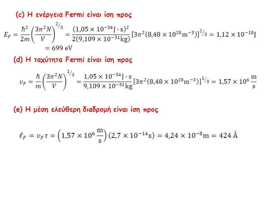 (c) Η ενέργεια Fermi είναι ίση προς
