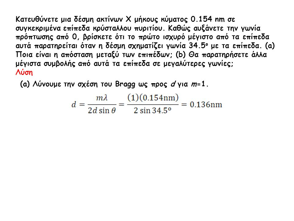 Κατευθύνετε μια δέσμη ακτίνων Χ μήκους κύματος 0