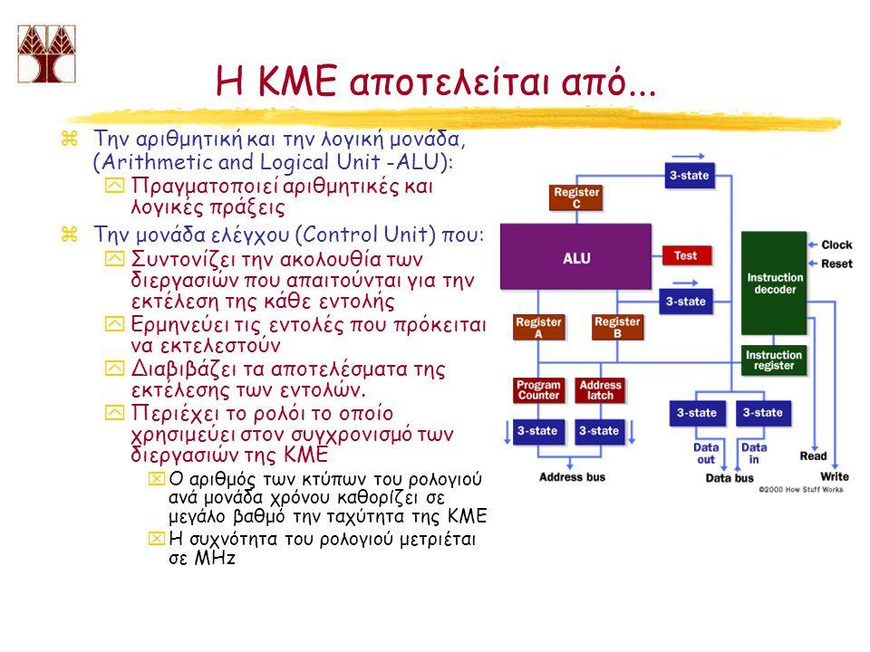 Η ΚΜΕ αποτελείται από... Την αριθμητική και την λογική μονάδα, (Arithmetic and Logical Unit -ALU): Πραγματοποιεί αριθμητικές και λογικές πράξεις.