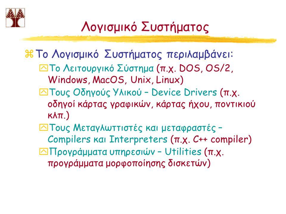 Λογισμικό Συστήματος Το Λογισμικό Συστήματος περιλαμβάνει: