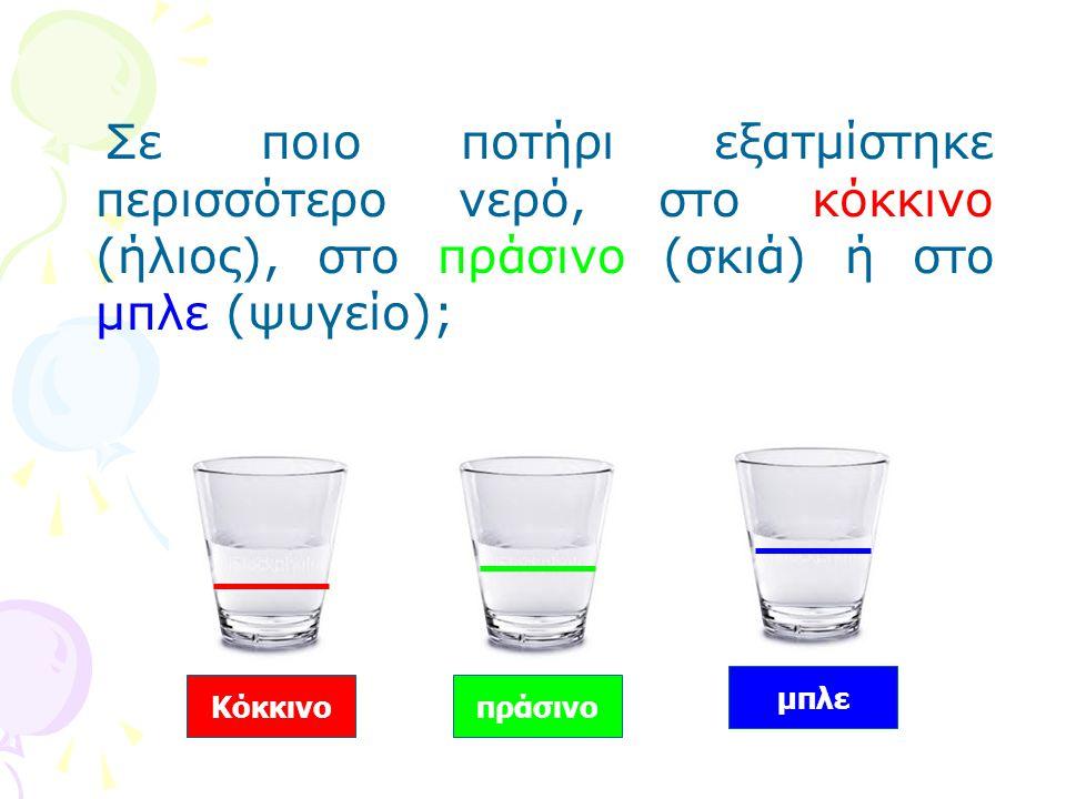 Σε ποιο ποτήρι εξατμίστηκε περισσότερο νερό, στο κόκκινο (ήλιος), στο πράσινο (σκιά) ή στο μπλε (ψυγείο);