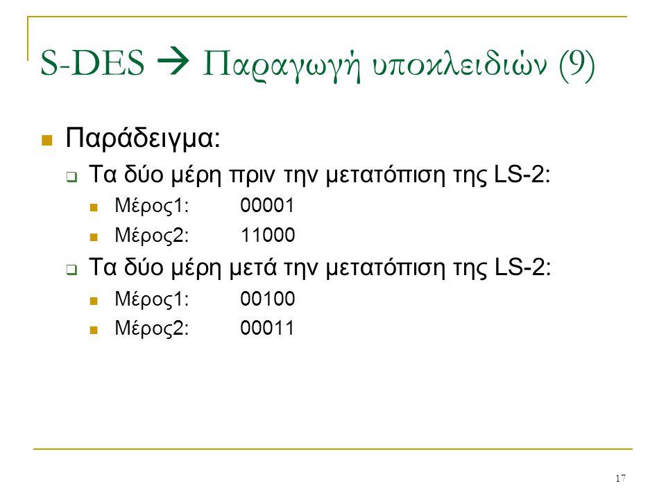 S-DES  Παραγωγή υποκλειδιών (9)