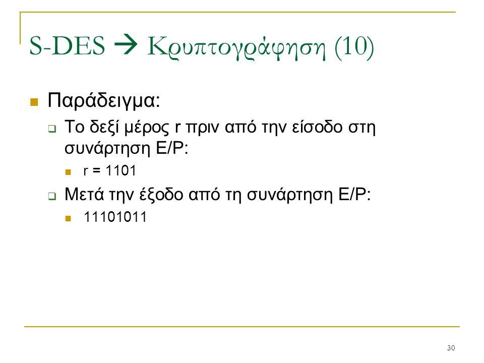 S-DES  Κρυπτογράφηση (10)