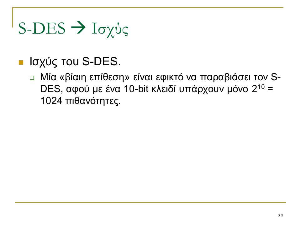 S-DES  Ισχύς Ισχύς του S-DES.
