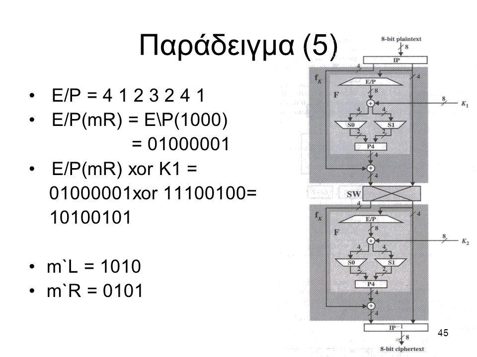 Παράδειγμα (5) E/P = 4 1 2 3 2 4 1 E/P(mR) = E\P(1000) = 01000001