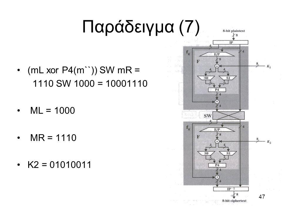 Παράδειγμα (7) (mL xor P4(m``)) SW mR = 1110 SW 1000 = 10001110
