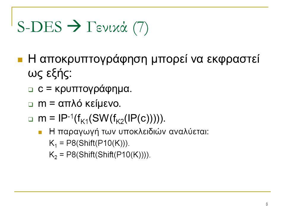 S-DES  Γενικά (7) Η αποκρυπτογράφηση μπορεί να εκφραστεί ως εξής: