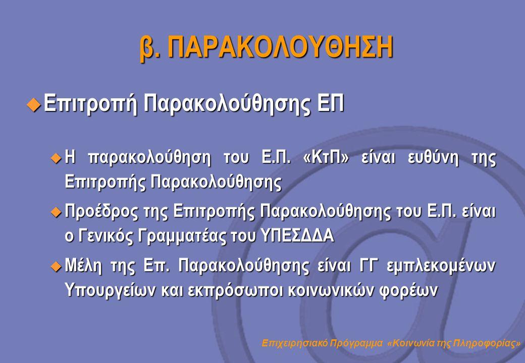 β. ΠΑΡΑΚΟΛΟΥΘΗΣΗ Επιτροπή Παρακολούθησης ΕΠ
