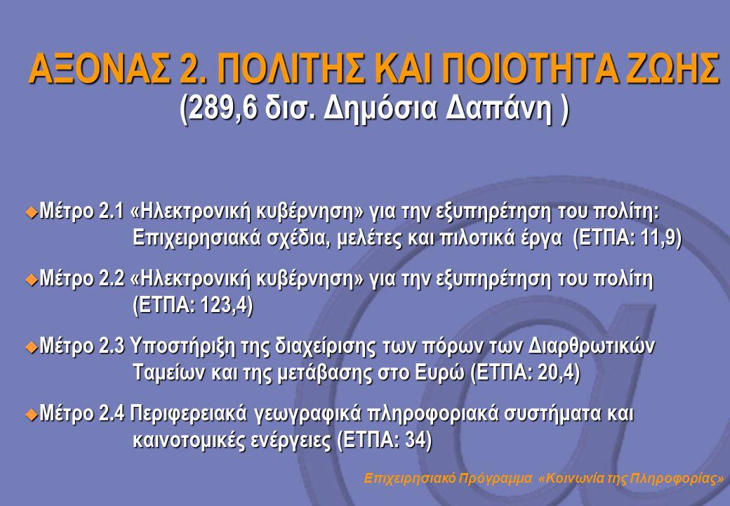 ΑΞΟΝΑΣ 2. ΠΟΛΙΤΗΣ ΚΑΙ ΠΟΙΟΤΗΤΑ ΖΩΗΣ (289,6 δισ. Δημόσια Δαπάνη )