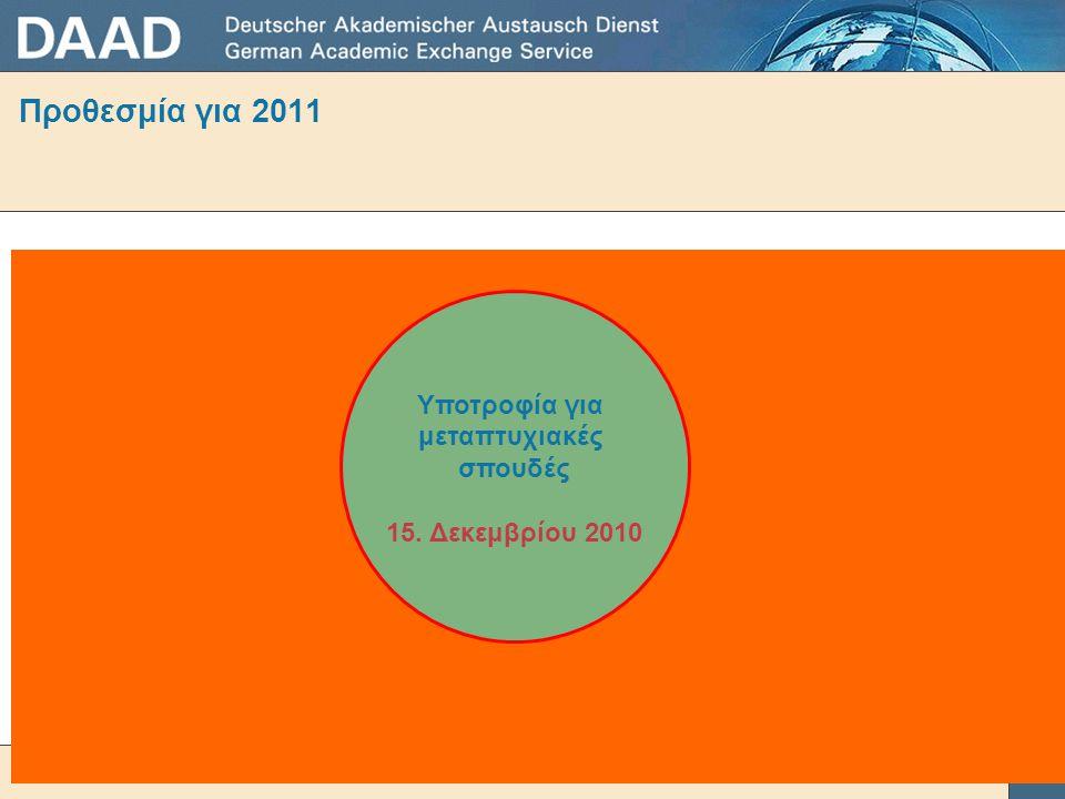 Προθεσμία για 2011 Υποτροφία για μεταπτυχιακές σπουδές