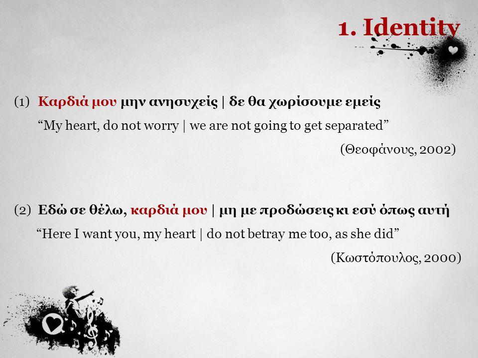 1. Identity (1) Καρδιά μου μην ανησυχείς | δε θα χωρίσουμε εμείς