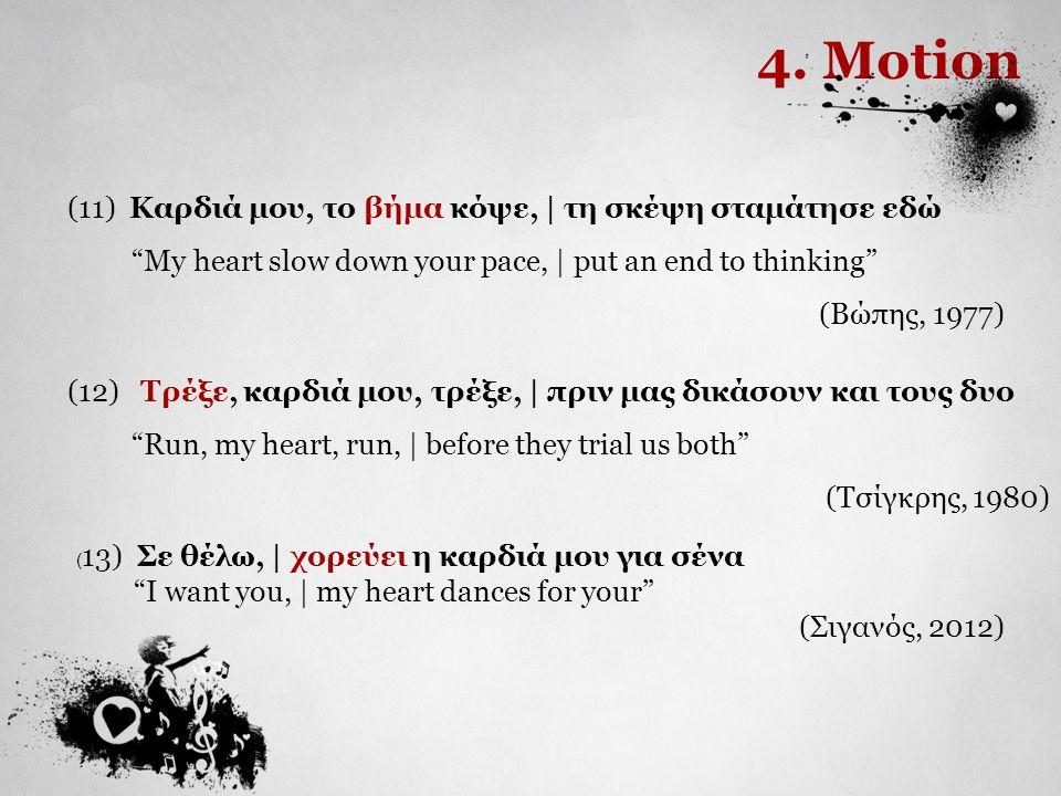 4. Motion (11) Καρδιά μου, το βήμα κόψε, | τη σκέψη σταμάτησε εδώ