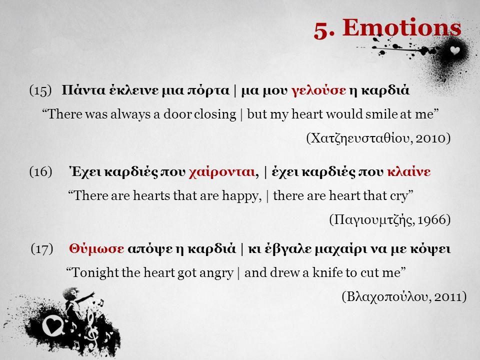 5. Emotions (15) Πάντα έκλεινε μια πόρτα | μα μου γελούσε η καρδιά