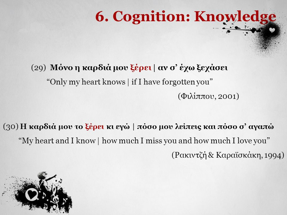 6. Cognition: Knowledge (29) Μόνο η καρδιά μου ξέρει | αν σ' έχω ξεχάσει. Only my heart knows | if I have forgotten you