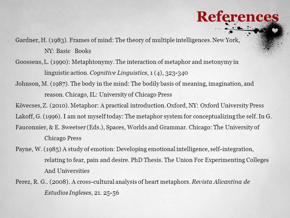 References Gardner, H. (1983). Frames of mind: The theory of multiple intelligences. New York, NY: Basic Books.