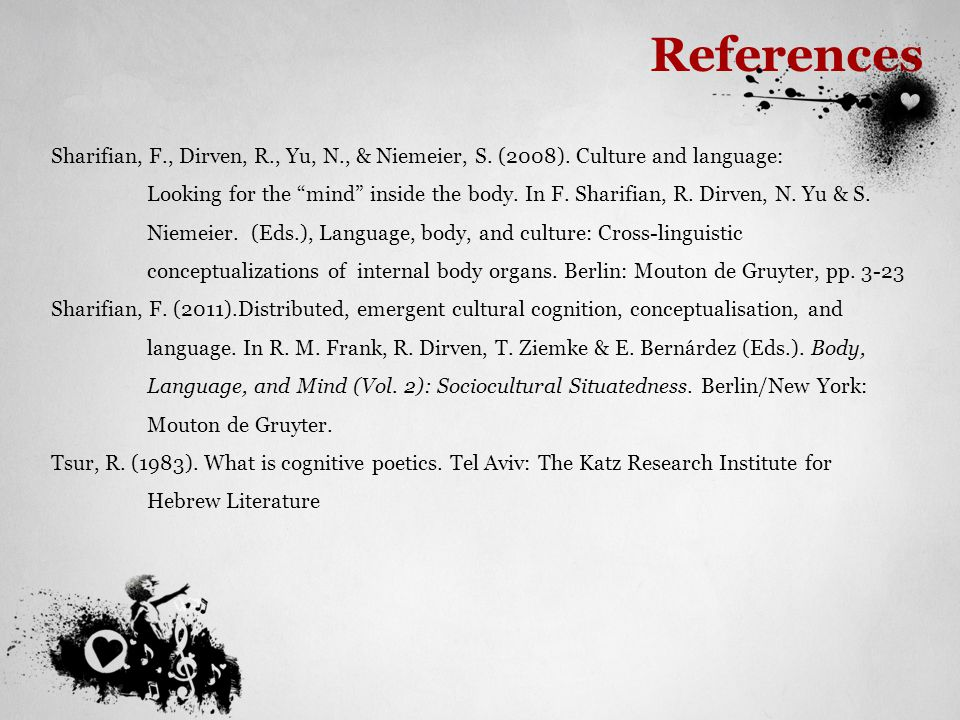 References Sharifian, F., Dirven, R., Yu, N., & Niemeier, S. (2008). Culture and language: