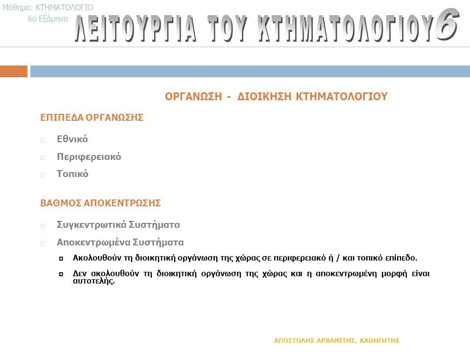 ΟΡΓΑΝΩΣΗ - ΔΙΟΙΚΗΣΗ ΚΤΗΜΑΤΟΛΟΓΙΟΥ