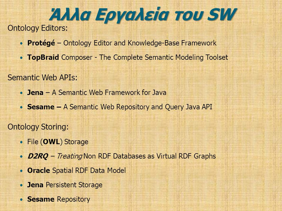 Άλλα Εργαλεία του SW Ontology Editors: Semantic Web APIs: