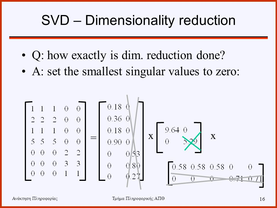 SVD – Dimensionality reduction
